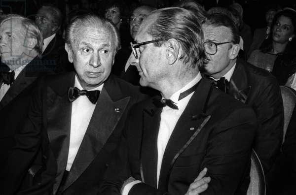 Juan Antonio Samaranch and Jacques Chirac March 20, 1985 (b/w photo)