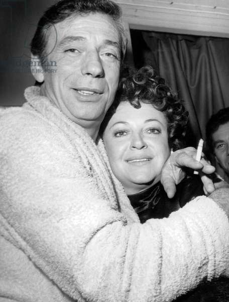 Actor and Singer Yves Montand Congratulated By Singer Regine After his Show in Olympia September 20, 1968 (b/w photo)