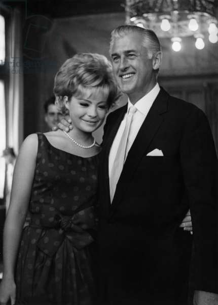 Actor Stewart Granger just married a young Belgian Beaute Queen Caroline Lecerf, A La Marie Des Eaux Vives in Geneva. June 8, 1964 (b/w photo)