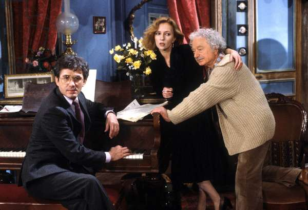 "The Telefilm ""Le Bonheur A Romarantin"" With Jean Luc Moreau Caroline Cellier And Maurice Chevitt In April 1984 (b/w photo)"