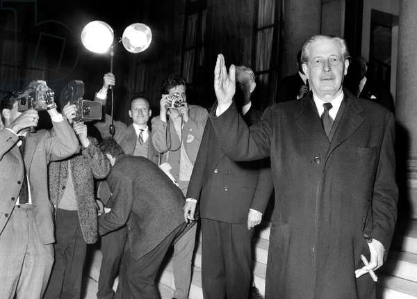 Harold Macmillan English Prime Minister Leaving Elysee Palace in Paris After Conference With his Western Counterparts May 18, 1960  (b/w photo)