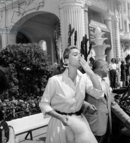 Actress Esther Williams during Cannes Film Festival, here Outside Carlton Hotel on May 1, 1955 (b/w photo)
