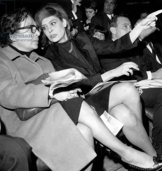 Author Marguerite Duras and Actress Melina Mercouri during Show in Paris To The Benefit of Struggle in Favour of Civil Rights in The Usa March 1966 (b/w photo)