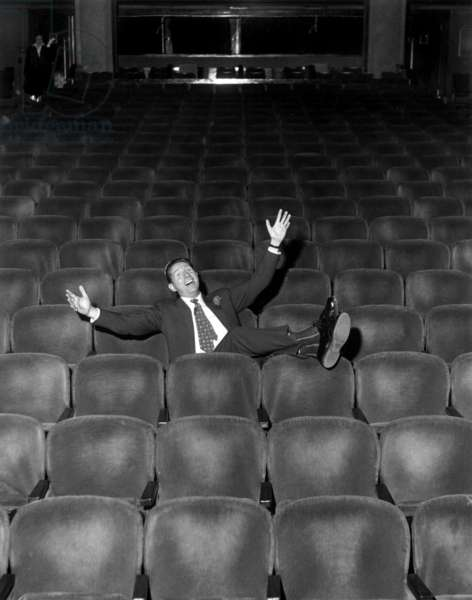 French Singer Charles Trenet at The Alhambra in Paris on January 16, 1958 (b/w photo)