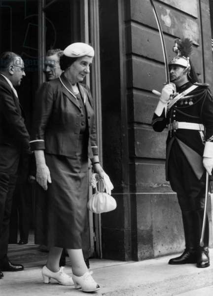 Golda Meir (Israeli Minister of Foreigns Affairs), at Midle-Distance Maurice Couve De Murville (R, French Minister of Foreigns Affairs) and Jacob Tsur ( The Israeli Ambassador To France) in Paris at The Offices of The French Prime Minister, August 5, 1958 (b/w photo)