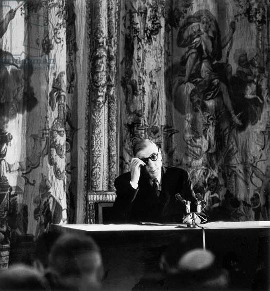 French President Charles De Gaulle during Press Conference at Elysee Palace March 25, 1959 at The Time of War in Algeria (b/w photo)