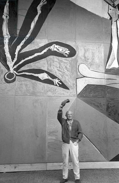 Spanish painter and sculptor Pablo Picasso in front of of his 80 square meter 'Icare' mural destined to decorate the UNESCO building in Paris, here in Vallauris on March 30, 1958