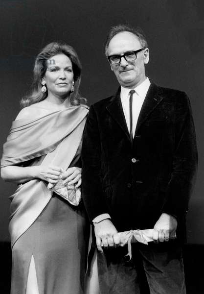 Director Carlos Saura Received Prize For Best Artistic Contribution For Film Carmen at Cannes Film Festival May 19, 1983 With Him Alexandra Stewart Cinema (b/w photo)