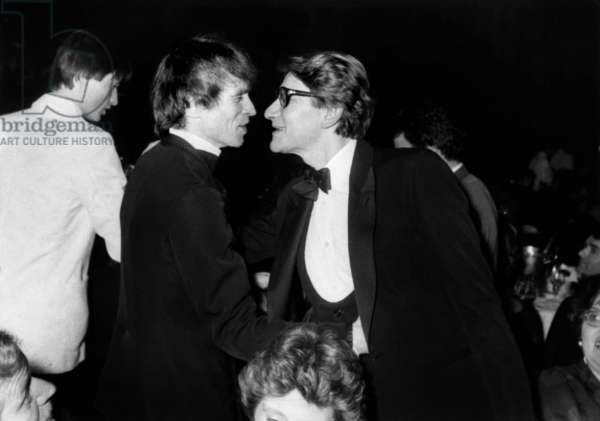 At Lido in Paris, Rudolph Noureev Congratulating Yves Saint-Laurent Celebrating 20 Years of Haute Couture of Ysl on January 29, 1982 (b/w photo)