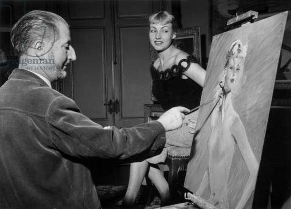 The French Painter Jean Gabriel Domergue Paint The Model Jacqueline Bauer, November 14, 1955 (b/w photo)
