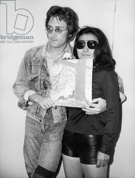 John Lennon and Yoko Ono during Cannes Film Festival May 18 1971 Presenting Their Record