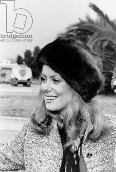 Catherine Deneuve at The Premiere of Peau D'Ane (Donkey Skin) in Nice, December, 21 1970 (b/w photo)