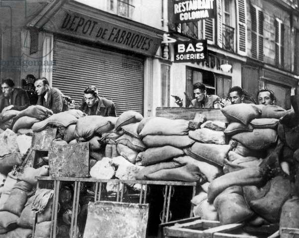 Barricades in The Streets of Paris during The Liberation of The City August 23, 1944 (b/w photo)