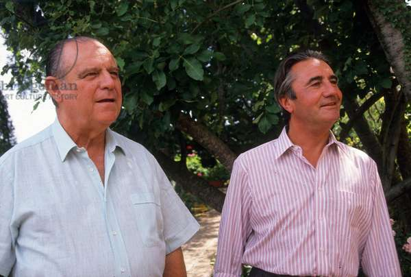 French Right Wing Politicians Raymond Barre and Jean Pierre Soisson at Rpr Party Conference August 1988 (photo)