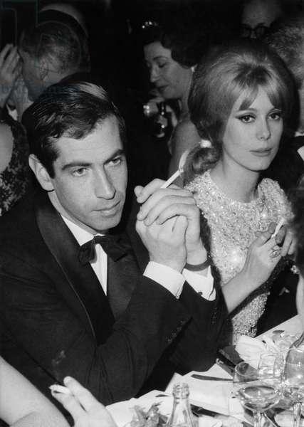 Roger Vadim And Catherine Deneuve At A Gala February 25, 1963 (b/w photo)