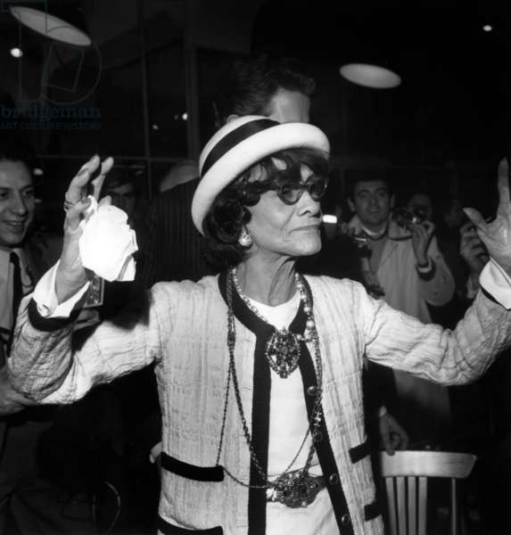 Coco Chanel after a fashion show, September 29th 1968 in Paris (b/w photo)