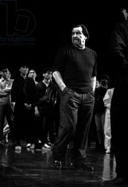 """French Choreographer Maurice Bejart Dduring Rehearsal With Ballet of Tokyo of """"La Legende Des 40 Samourais"""" in Paris on February 23, 1988 (b/w photo)"""