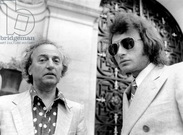 Director Francois Reichenbach and Singer Johnny Hallyday in 1972 (b/w photo)