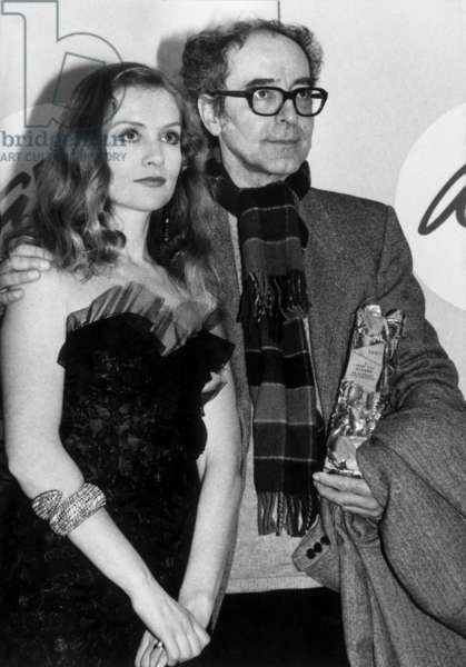 Cesars Ceremony on March 9, 1987, Paris : French Director Jean Luc Godard With An Honour Cesar Given By Isabelle Huppert (b/w photo)