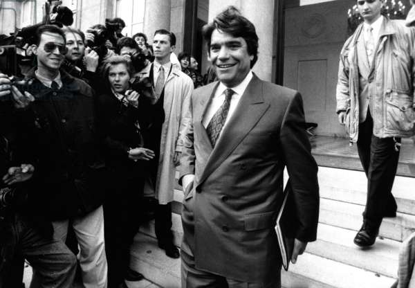 Bernard Tapie, New Minister of Town, Leaving Council of Ministers, Elysee Palace, Paris, April 8, 1992 (b/w photo)