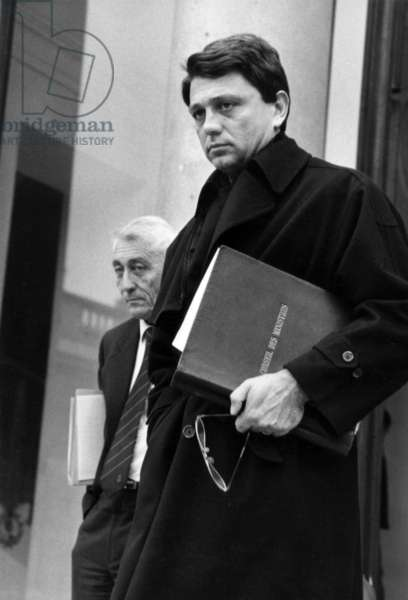 Alain Madelin, French Minister of Industry, Leaving Elysee Palace After Council of Ministers, in Background We Can See Bernard Pons, French Oversea Departments and Territory, October 28, 1987 (b/w photo)