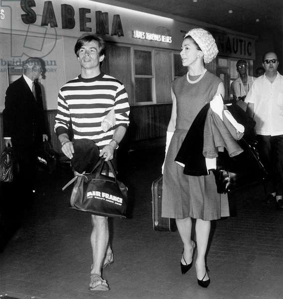 Rudolf Noureev and Margot Fonteyn at Nice Airport, France, July 29, 1963 (b/w photo)