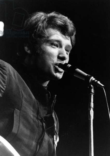 French Singer Johnny Hallyday on Stage at The Olympia, Paris, October 19, 1966 (b/w photo)