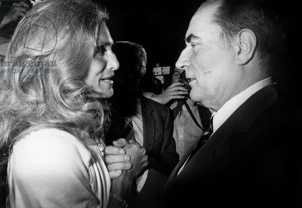 Singer Dalida Congratulating New French President Francois Mitterrand May 14, 1981 After Election (b/w photo)