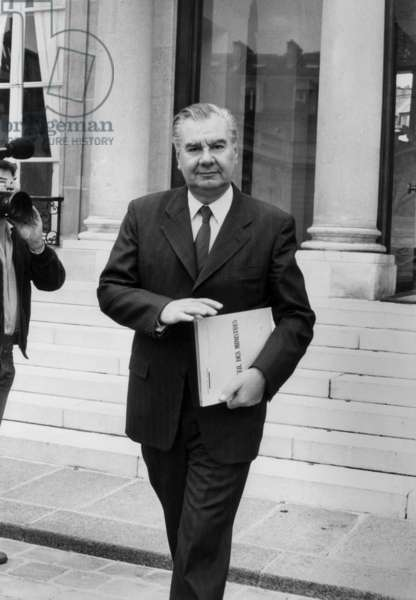 Rene Monory Leaving The Elysee Palace After Council of Ministers, June 18, 1980 (b/w photo)