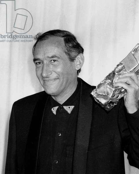 "Director Alain Corneau Received Best Film Cesar for ""Tous Les Matins Du Monde"" February 24, 1992 - French Director Alain Corneau With Cesar For Film Tous Les Matins Du Monde February 24, 1992 (b/w photo)"