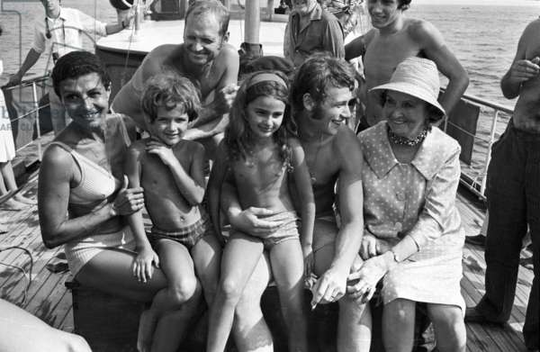 French Singer Johnny Hallyday during Vacations With his Family in 1967 on French Riviera With his Cousin Desta (L), her Husband Lee Hallyday (Behind) and Their 2 Children and his Aunt Helene Mar (Mother of Desta) (b/w photo)