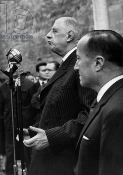 French President Charles De Gaulle Speaking To People in Briancon, France, October 22, 1960 (b/w photo)