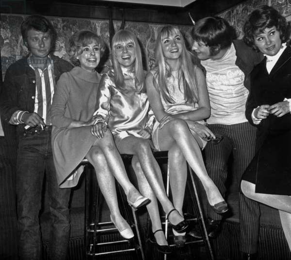 Singers Johnny Hallyday, Georgette Lemaire, France Gall, Annie Philippe and Rika Zarai June 21, 1967 (b/w photo)