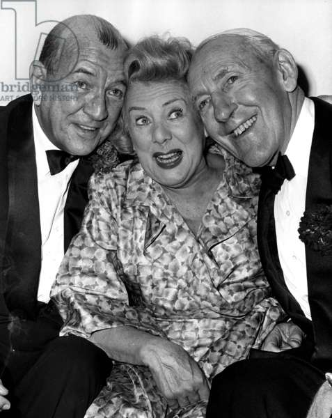 The First Night of The Noel Coward Musical Hight Spirits Was Held at The Savoy Theatre. here Noel Coward Is Seen With The Star of The Show Cicely Courtneidge and her Husband Jack Hulbert 4/11/64 (b/w photo)