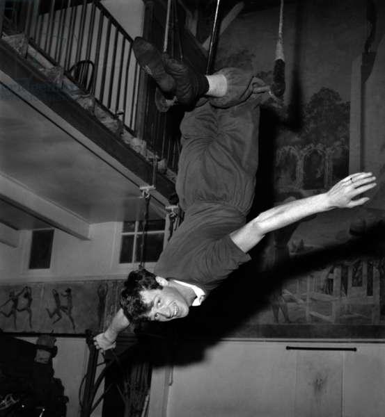Jean-Paul Belmondo during Rehearsal For Gala of Artists on February 8, 1961 (b/w photo)