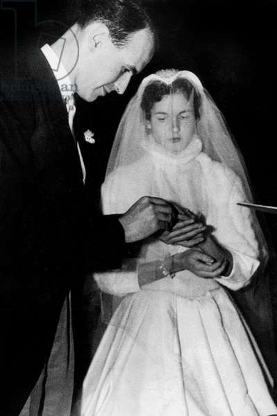 Wedding of Giscard D' Estaing and Anne-Aymone Sauvage De Brantes December 23, 1952 (b/w photo)