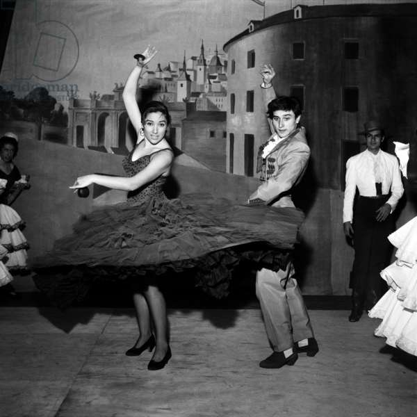 Nana Lorca and Antonio Gardes, The Spanich Dancers of Pilar Lopez (Flamenco) on Stage in Paris January 28, 1960 (b/w photo)