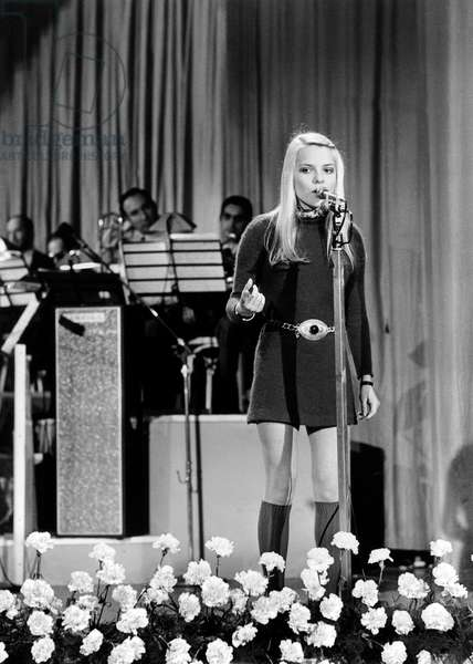 French Singer France Gall at San Remo Song Festival February 1, 1969 (b/w photo)