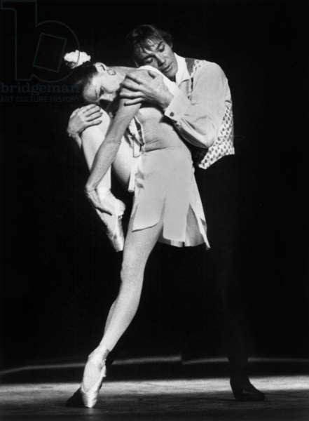 Ekaterina Maximova and Husband Vladimir Vassiliev, Both Russian Dancers of The Bolshoi Ballet Dancing Fragment of A Biography in Paris June 23, 1983 (b/w photo)