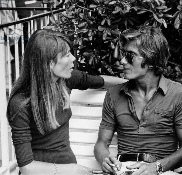 French Singers Francoise Hardy and Jacques Dutronc at Nice Cote D'Azur Airport on August 26, 1968 (b/w photo)