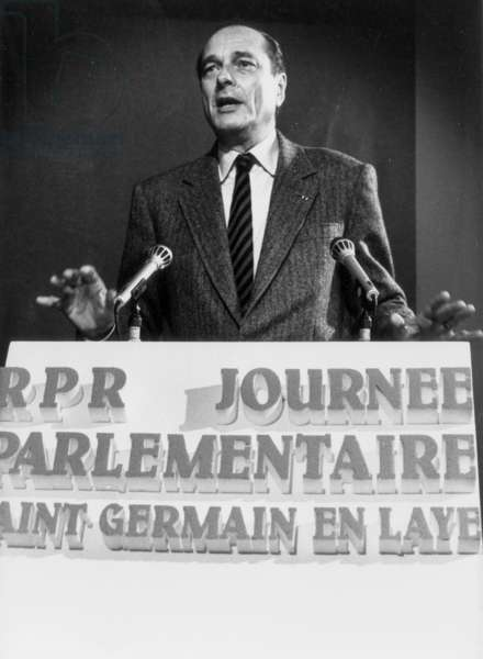 Jacques Chirac French Prime Minister during A Speech on March 26, 1987 (b/w photo)