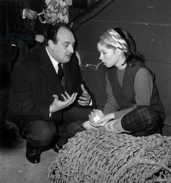 Pierre Tchernia Comes To Encourage Geraldine Chaplin For One of her Show at Bouglione Circus, March 4, 1964 (b/w photo)