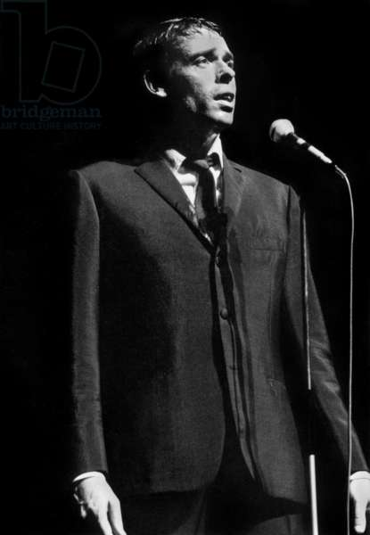Jacques Brel on Stage at The Olympia in Paris October 7, 1966 (b/w photo)