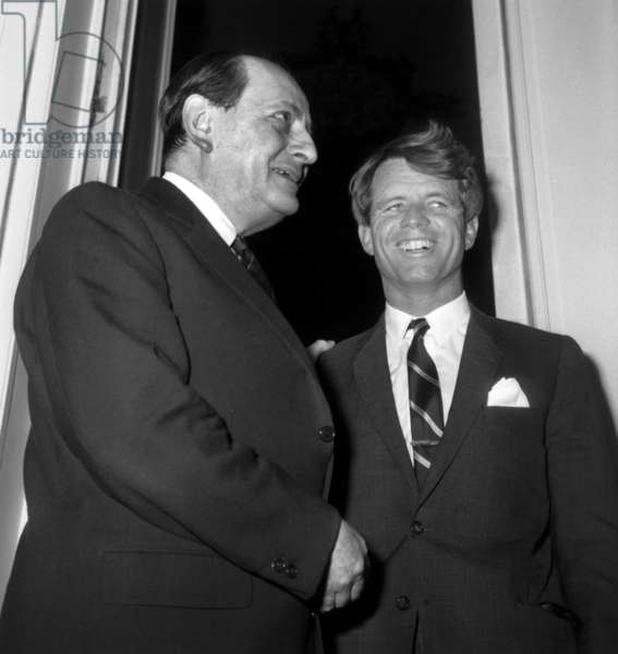 Robert Kennedy Visiting Andre Malraux, French Minister of Culture, on January 30, 1967 (b/w photo)