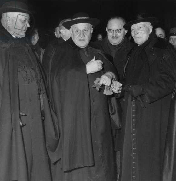 Ange Joseph Roncalli (1881-1963) Future Pope John Xxiii, here As Papal Nuncio in Paris With L-R Cardinal Feltin, Jean Letourneau and Georges Grente in January 1953 in Paris (b/w photo)
