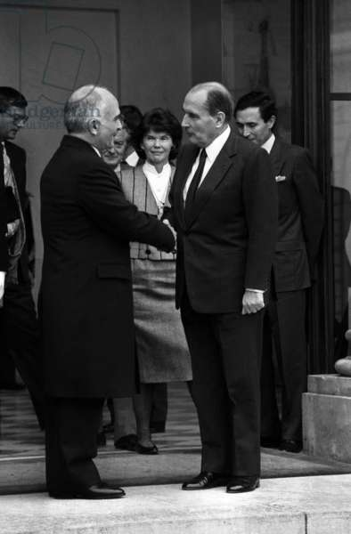 King Hussein of Jordan Received at Elysee Palace in Paris By French President Francois Mitterrand on November 7, 1985 (b/w photo)