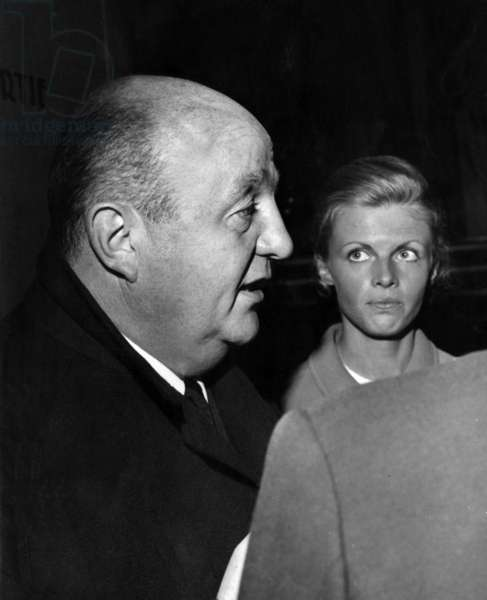 French Actor Bernard Blier and his 2Nd Wife Annette Martin at Premiere of Film To Commit A Murder on April 7, 1967 (b/w photo)