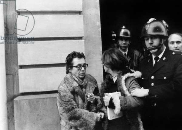 Demonstration and Sit-In at The French Employers Council Headquarters in Paris September 1968, Supported By Writers Marguerite Duras (b/w photo)