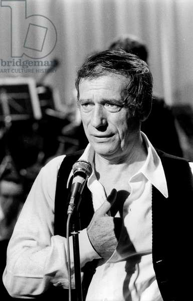 Yves Montand Singing on TV Programme October 9, 1973 (b/w photo)