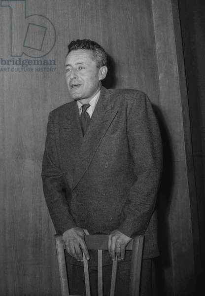 French explorer Paul Emile Victor in Paris on February 15, 1950 (b/w photo)